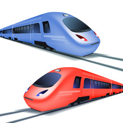 Set of high speed trains isolated on white background