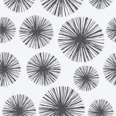 Bright floral seamless pattern with hand drawn dandelions