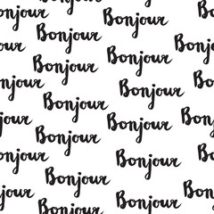 Seamless pattern with french quote Bonjour.
