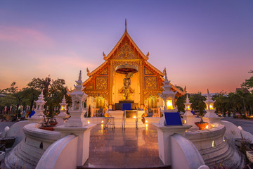 Keuken foto achterwand Temple Beautiful temple in sunset scene at Chiang mai , Thailand