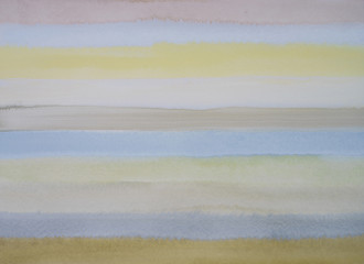A low contrast watercolor painting with horizontal bands of color.