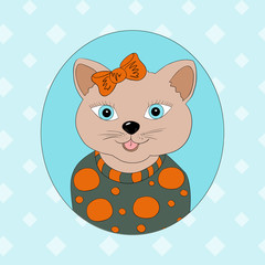 A cat with an orange bow. Print for children's clothing, books, postcards