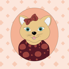 A cat with a brown bow. Print for children's clothing, books, postcards