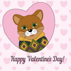 Cougar in the green jersey. Picture for clothes, cards, covers. Happy Valentine's Day!