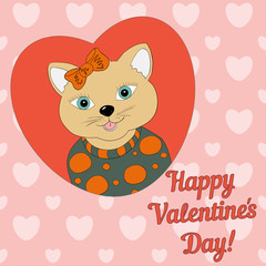 A cat with a orange bow. Print for clothing, postcards.Valentine's day