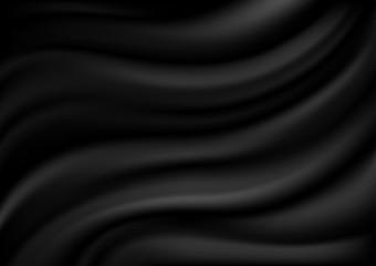 Black Satin Background - Abstract Texture or Velvet Material Illustration, Vector