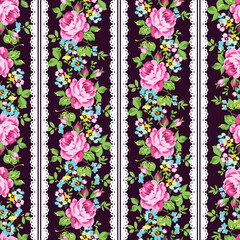 Seamless floral pattern with pink roses, forget-me-not and lace