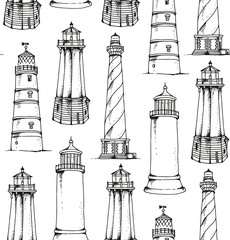 Lighthouses vector pattern