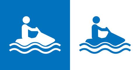 Icono plano moto acuatica azul