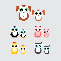 set of cute cartoon animals like hen, chicken, dog, puppy, cat, kitten, pig, piglet and penguin with child isolated on light background