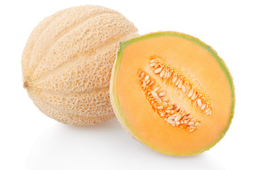 Cantaloupe melon and half isolated on white, clipping path