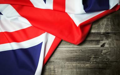 United Kingdom flag on wooden table