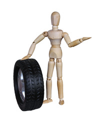 Wooden mannequin and the wheel