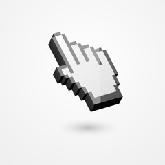 3D illustration of pixelated hand pointer, isolated on white background.
