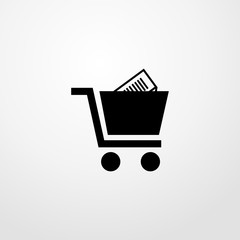 shopping cart with product icon. flat design