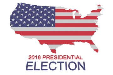 2016 US Presidential Election: Stars and Stripes map of the USA, 3d illustration