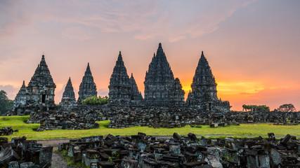 Sunset over Prambanan temple near Yogyakarta in Central Java, Indonesia