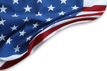 USA flag on white
