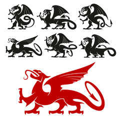 Heraldic Griffin and mythical Dragon silhouettes