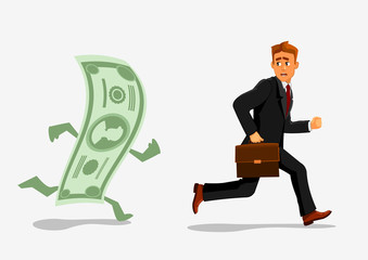Businessman escaping dollar, running from banknote