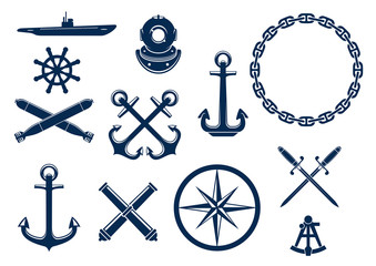 Marine and nautical icons set