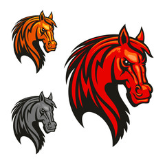 Horse stallion head and mane shiled icons