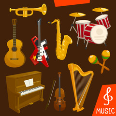 Wind and strings musical instruments