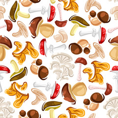 Mushrooms seamless pattern background
