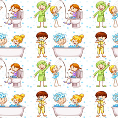 Seamless background with kids in bathtub