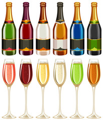 Wine glasses and bottle in many colors