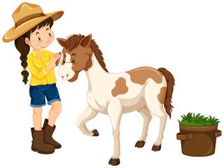Farm girl with little pony