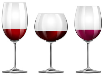 Three sizes of wine glasses