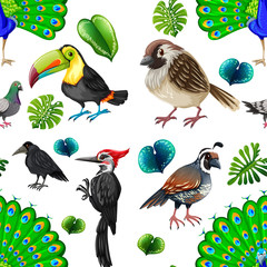 Seamless background with many wild birds