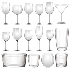 Set of wine glasses and cups