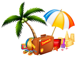 Summer theme with suitcase and toys
