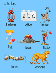 Many words begin with letter L