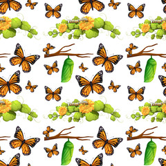 Seamless background with butterflies and leaves
