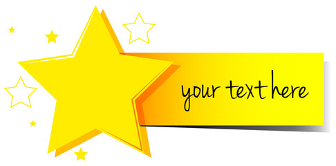 Banner design with stars and yellow tag