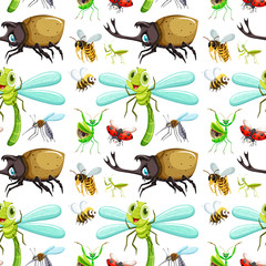 Seamless background with different insects