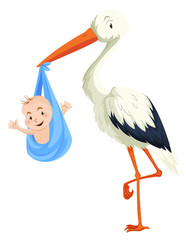 Crane delivering baby boy
