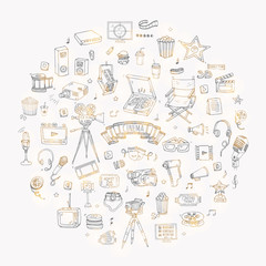 Hand drawn doodle Cinema set. Vector illustration. Movie making icons. Film symbols collection. Cinematography freehand elements: camera, film tape, photo camera, pizza, popcorn, projector, microphone