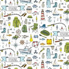 Seamless pattern hand drawn doodle Fishing icons set. Vector illustration. Cartoon catching fish equipment elements collection: Rod, Baits, Spinning, Lure, Inflatable Boat, Yacht, Lighthouse, Cloth.
