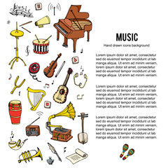 Hand drawn doodle Music set. Vector illustration. Musical instrument and symbols icons collection. Cartoon sound elements: Notes, Piano, Guitar, Violin, Trumpet, Drum, Gramophone, Headphones, Cassette