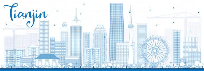 Outline Tianjin Skyline with Blue Buildings. Papier Peint