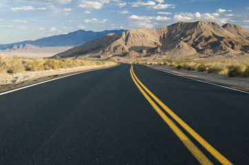 Desert road and landscape in Southern California.