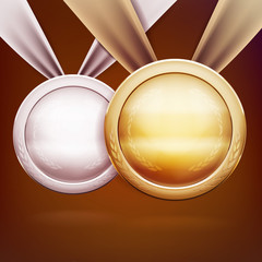 Medals set, gold silver and bronze awards for challenge champion vector illustreation