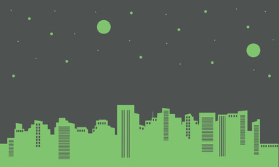 Silhouette of building on green backgrounds