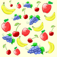 Colorful and fresh fruits pattern. Vector illustration.