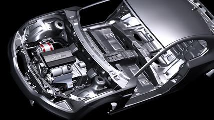 Chassis eines PKW mit eingebautem Hybridmotor