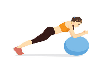 Woman workout with fitness ball in ball table top posture. Illustration about exercise with exercise equipment.